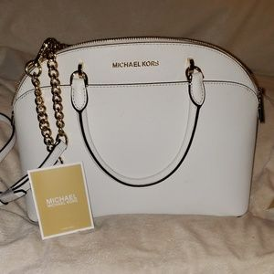Emmy Large Saffiano Leather Dome Satchel
